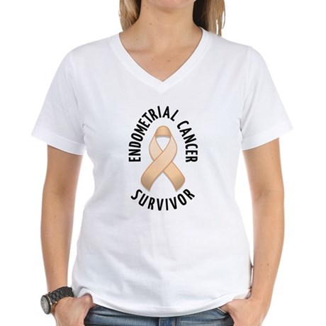 Endometrial Cancer Survivor Women's V-Neck T-Shirt