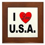 I Love U.S.A. Framed Tile