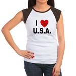 I Love U.S.A. (Front) Women's Cap Sleeve T-Shirt