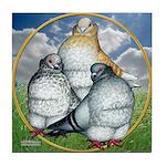Owl Pigeons In Field Tile Coaster