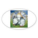 Owl Pigeons In Field Oval Sticker