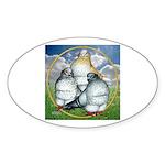 Owl Pigeons In Field Oval Sticker (10 pk)