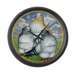 Owl Pigeons In Field Large Wall Clock
