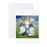 Owl Pigeons In Field Greeting Cards (Pk of 10)