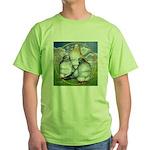 Owl Pigeons In Field Green T-Shirt