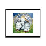 Owl Pigeons In Field Framed Panel Print