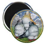 "Owl Pigeons In Field 2.25"" Magnet (10 pack)"