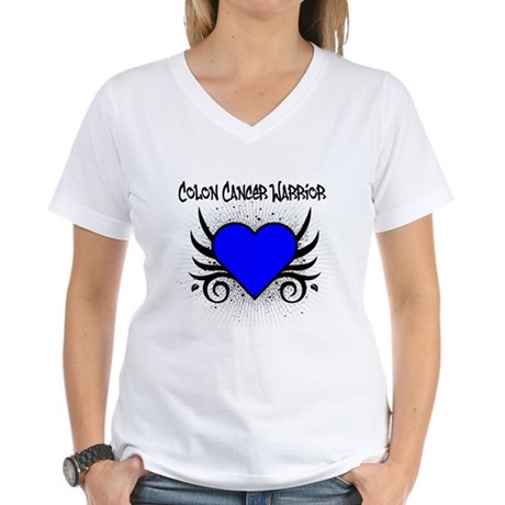 Colon Cancer Warrior Women's V-Neck T-Shirt