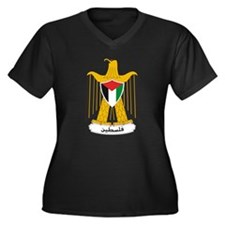 Palestinian Coat of Arms Women's Plus Size V-Neck
