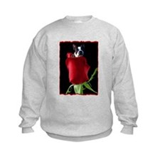 Red Rose Boston Terrier Sweatshirt
