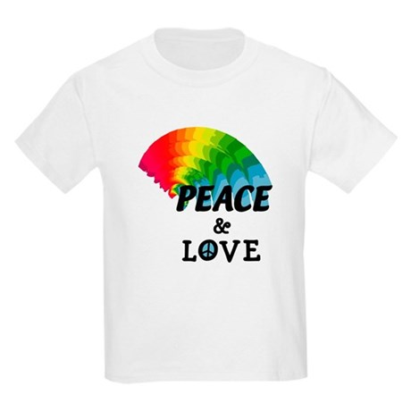 Rainbow Peace and Love Kids Light T-Shirt