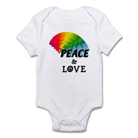 Rainbow Peace and Love Infant Bodysuit