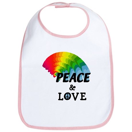 Rainbow Peace and Love Bib