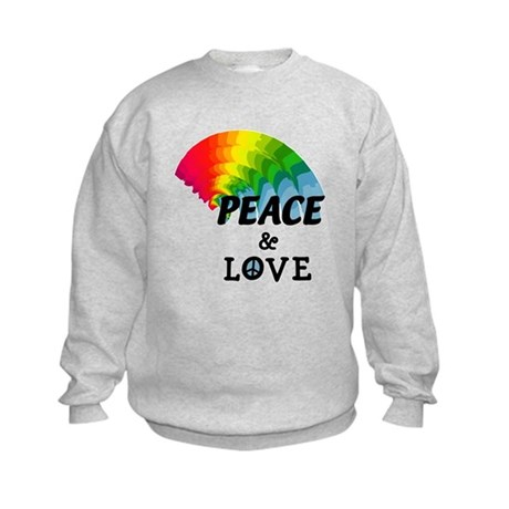Rainbow Peace and Love Kids Sweatshirt