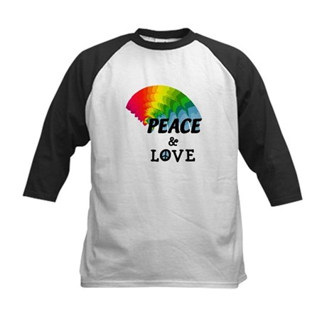 Rainbow Peace and Love Kids Baseball Jersey