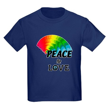 Rainbow Peace and Love Kids Dark T-Shirt