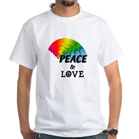 Rainbow Peace and Love White T-Shirt