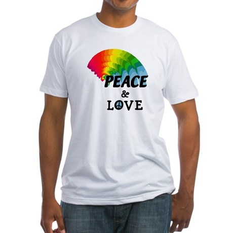 Rainbow Peace and Love Fitted T-Shirt