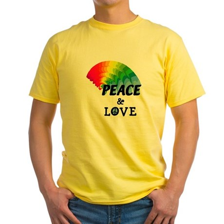 Rainbow Peace and Love Yellow T-Shirt