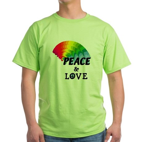 Rainbow Peace and Love Green T-Shirt
