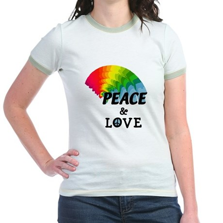 Rainbow Peace and Love Jr. Ringer T-Shirt