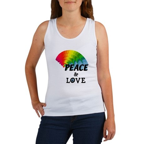 Rainbow Peace and Love Women's Tank Top