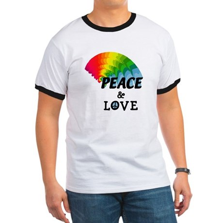 Rainbow Peace and Love Ringer T