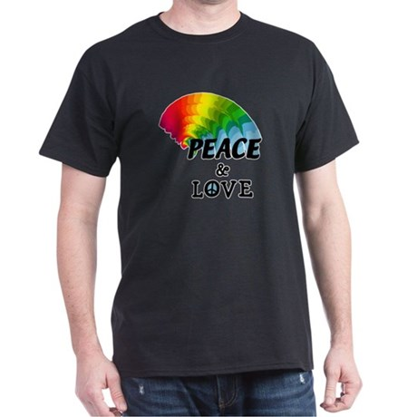 Rainbow Peace and Love Dark T-Shirt