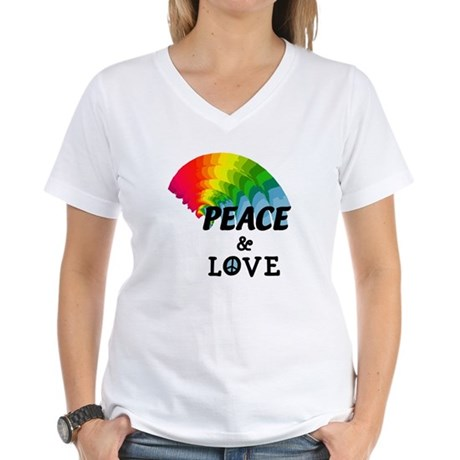 Rainbow Peace and Love Women's V-Neck T-Shirt