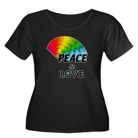 Rainbow Peace and Love Women's Plus Size Scoop Nec