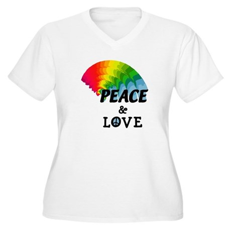 Rainbow Peace and Love Women's Plus Size V-Neck T-