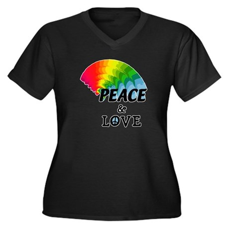 Rainbow Peace and Love Women's Plus Size V-Neck Da