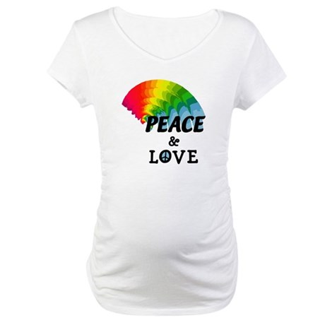 Rainbow Peace and Love Maternity T-Shirt
