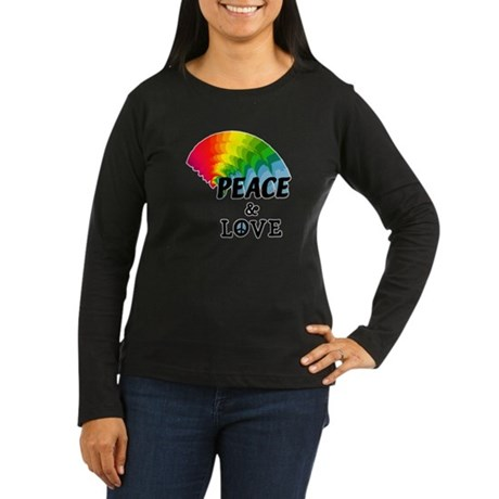 Rainbow Peace and Love Women's Long Sleeve Dark T-