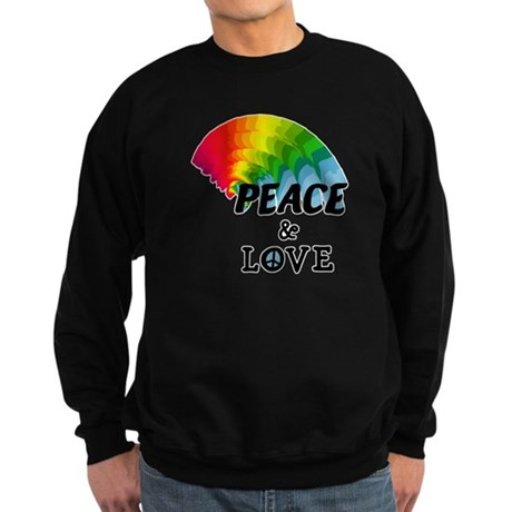 Rainbow Peace and Love Sweatshirt (dark)