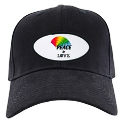 Rainbow Peace and Love Black Cap