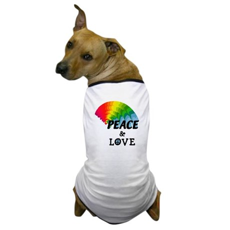 Rainbow Peace and Love Dog T-Shirt