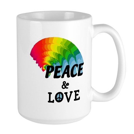 Rainbow Peace and Love Large Mug