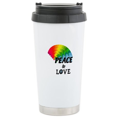 Rainbow Peace and Love Ceramic Travel Mug