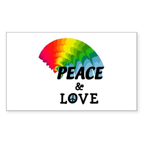 Rainbow Peace and Love Rectangle Sticker