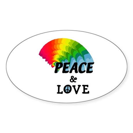 Rainbow Peace and Love Oval Sticker