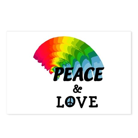 Rainbow Peace and Love Postcards (Package of 8)