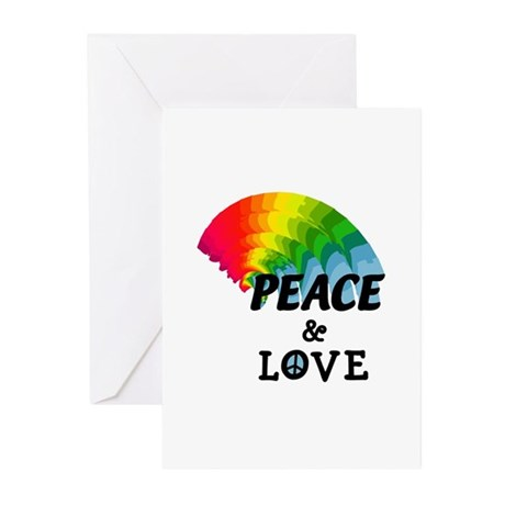 Rainbow Peace and Love Greeting Cards (Pk of 10)