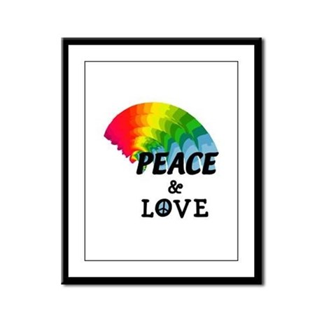Rainbow Peace and Love Framed Panel Print