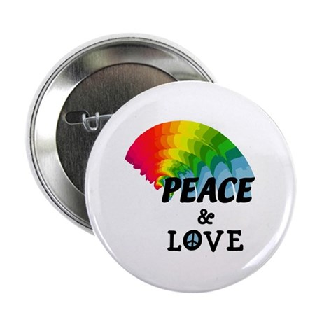 "Rainbow Peace and Love 2.25"" Button (100 pack)"