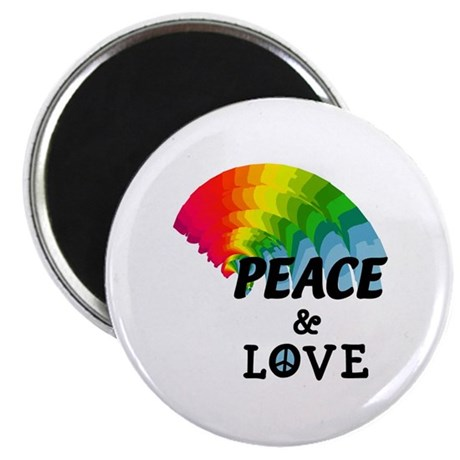 "Rainbow Peace and Love 2.25"" Magnet (10 pack)"
