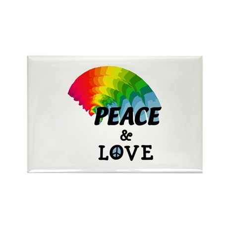 Rainbow Peace and Love Rectangle Magnet