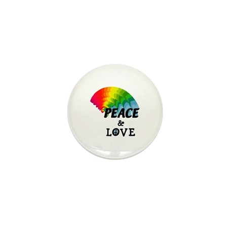 Rainbow Peace and Love Mini Button