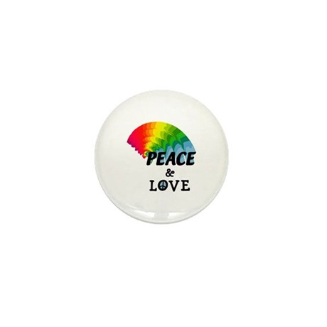 Rainbow Peace and Love Mini Button (10 pack)