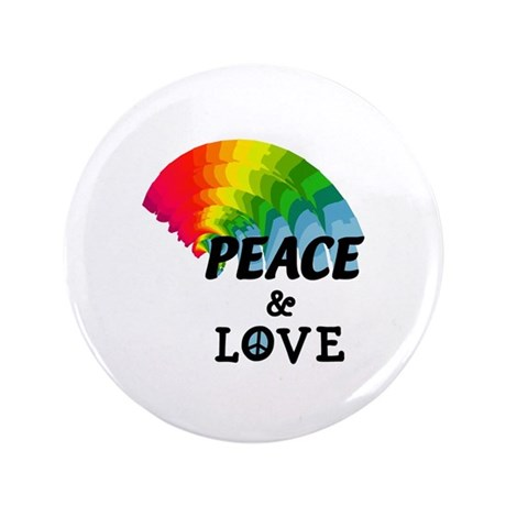 "Rainbow Peace and Love 3.5"" Button"